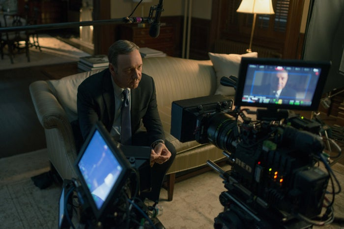Kevin Spacey on the set of House of Cards.