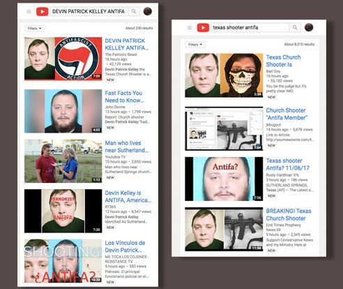 """The false claim of an """"antifa"""" connection also took off on YouTube. Searching for the name of the shooter with the word """"antifa"""" brings up videos with thousands of views that push the false narrative."""