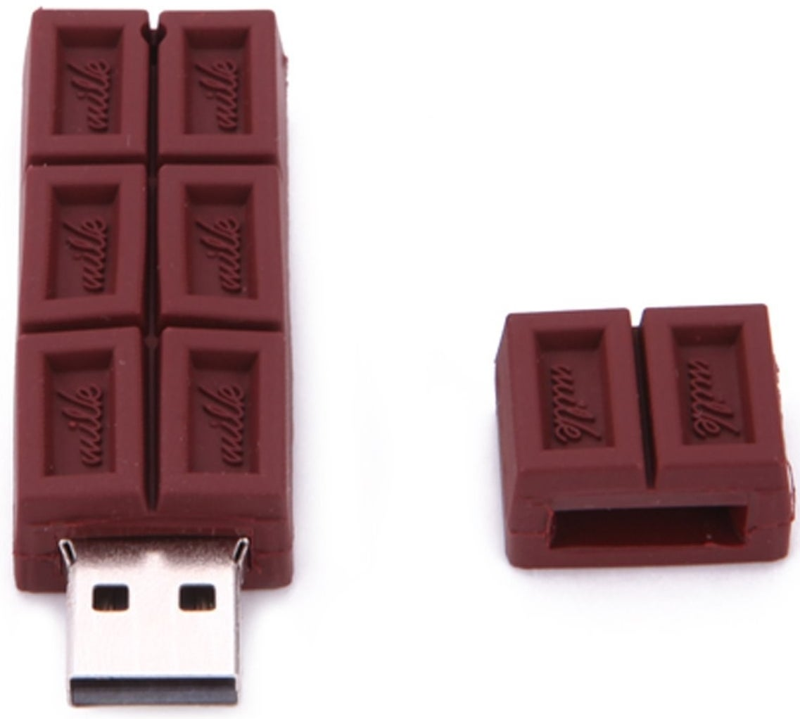 """A tasty-looking USB flash drive likely to exacerbate a sweet tooth. The cap """"breaks off"""" like a real piece of chocolate!"""