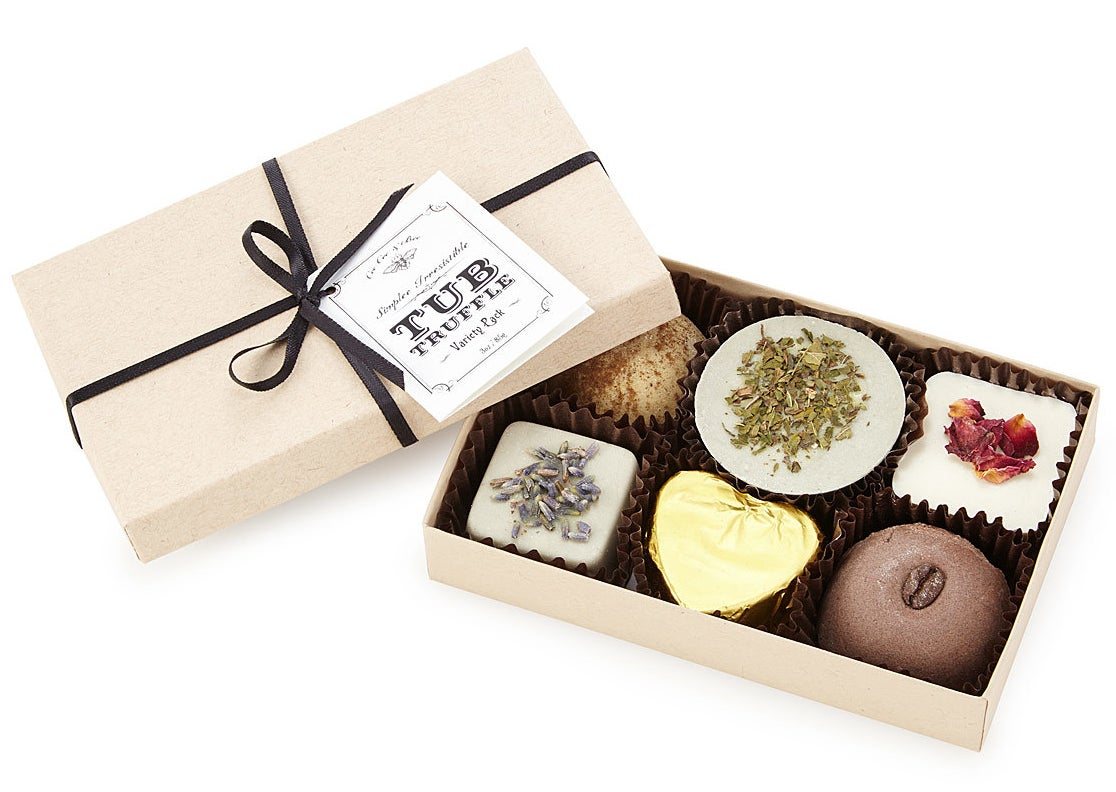 A box of luxurious bath truffles made with cocoa butter. You'll love them almost as much as edible chocolate truffles. Almost.