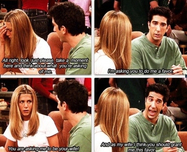 Ross lying to Rachel about annulling their marriage