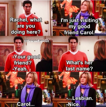 Whenever Ross' ex-wife Carol was used as a punchline