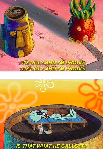 Squidward accepting SpongeBob for who he is: