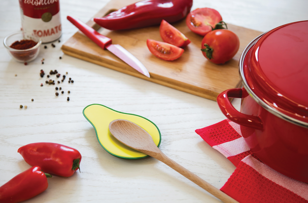 An avocado spoon rest so finding a place to set your utensil down while cooking won't be such as ~hass-le~.