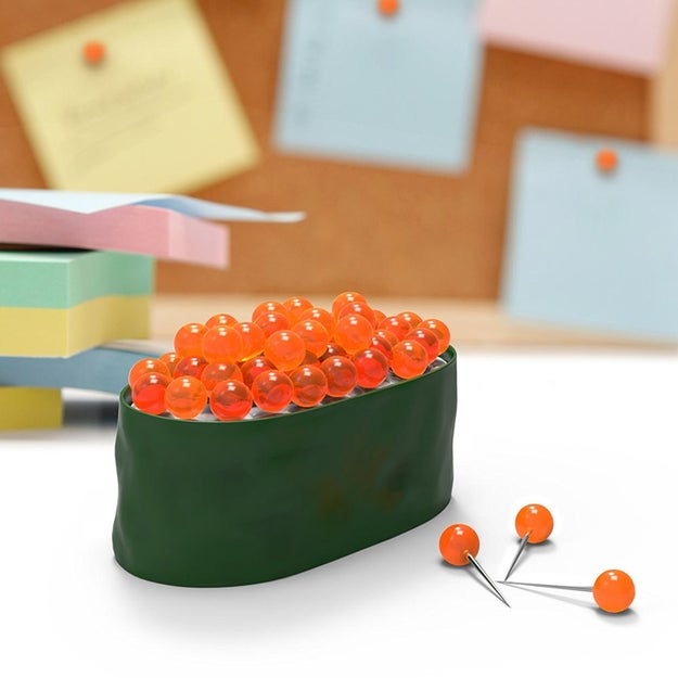 A sushi pushpin set you'll be tempted to take a bite out of. It'll make organizing the bulletin board ~roe-lly~ fun.