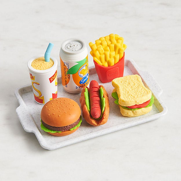 A set of miniature fast food erasers much too cute to use. They're better suited for furnishing an elaborate doll house.