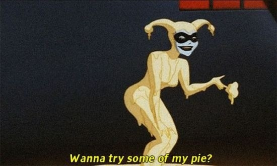 Harley Quinn offering some ~dessert~: