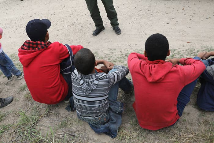 Central American immigrants in custody near McAllen, Texas, after being detained by Border Patrol agents in January 2017.