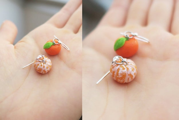 An ~a-peeling~ pair of clementine earrings so realistic, people might think you figured out the secret to growing tiny fruits.