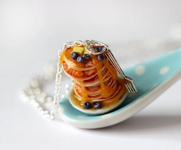 An ultra-realistic pancake necklace, because breakfast foods are ~batter~ than diamonds.