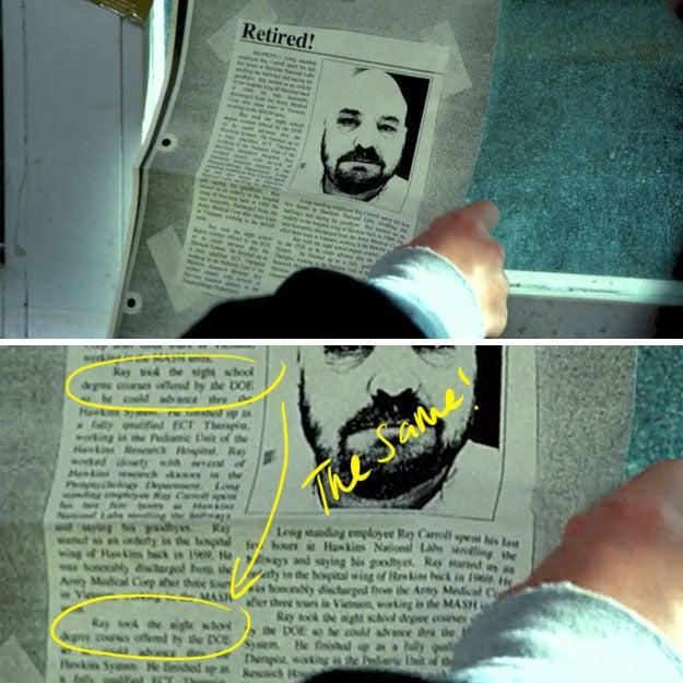 """O texto repetido diz: """"O funcionário de longa data Ray Carroll passou suas últimas horas no Hawkins National Labs passeando pelos corredores e dizendo adeus. Ray começou como um enfermeiro na ala hospitalar de Hawkins em 1969. Ele foi dispensado com honra do Corpo Médico do Exército após três anos no Vietnã, trabalhando nas unidades MASH. Ray fez os cursos noturnos de licenciatura oferecidos pelo DOE para que pudesse avançar pelo sistema Hawkins. Ele terminou como um terapeuta de ECT totalmente qualificado, trabalhando na Unidade Pediátrica do Hawkins Research Hospital. Ray trabalhou em estreita colaboração com diversos médicos pesquisadores no Departamento de Parapsicologia"""".(Repetir o texto em recortes de jornais na verdade é uma prática bastante comum em adereços para filmes e séries, mas ainda é divertido de notar!)"""