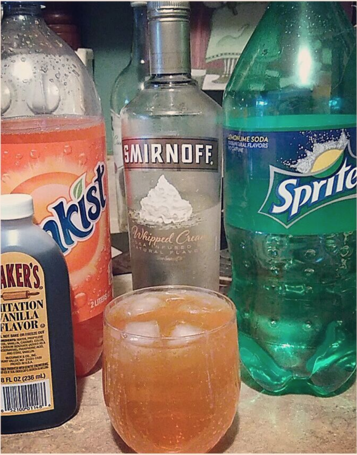 I did a lot of whipped cream vodka, OJ, and a dash of sprite in college. Tasted just like a creamsicle!—veronicaa9283