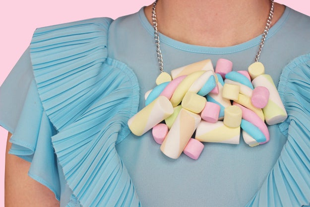 A handmade marshmallow necklace so you can feel like a character in Candy Land.