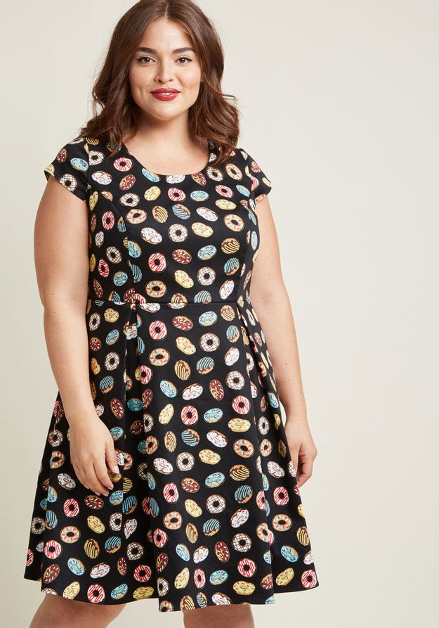 A doughnut-print dress everyone will go ~glazy~ for! It's 100% sweeter than a regular polka-dot number.