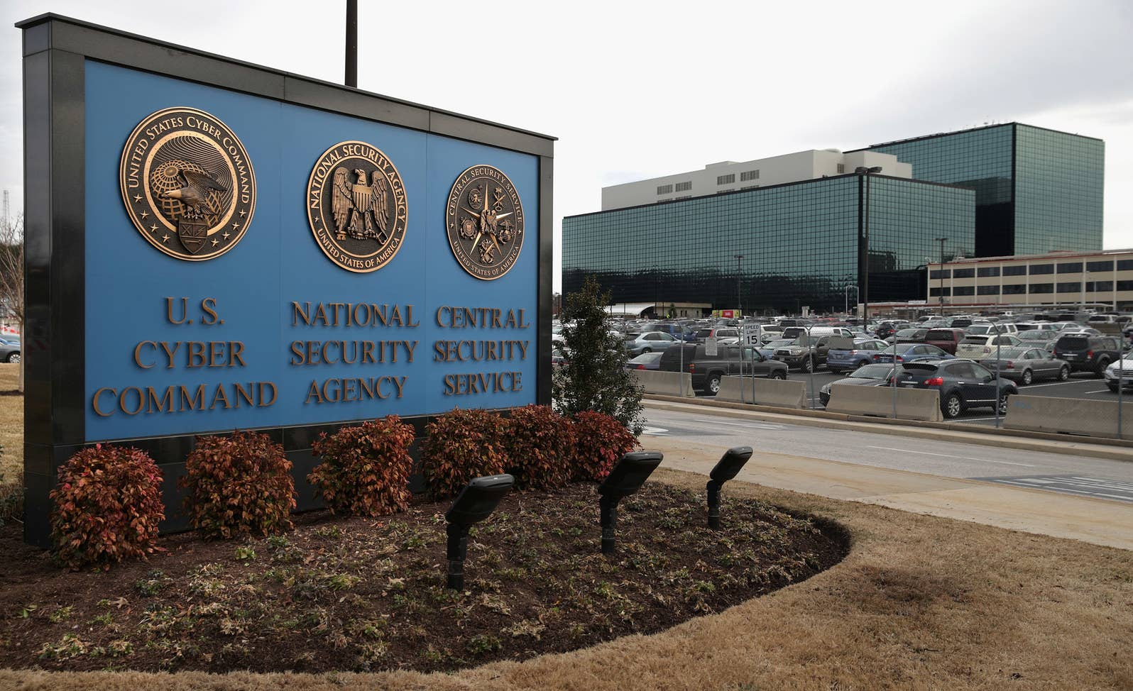 The seals of the US Cyber Command, the National Security Agency, and the Central Security Service at the campus the three organizations share in Fort Meade, Maryland.
