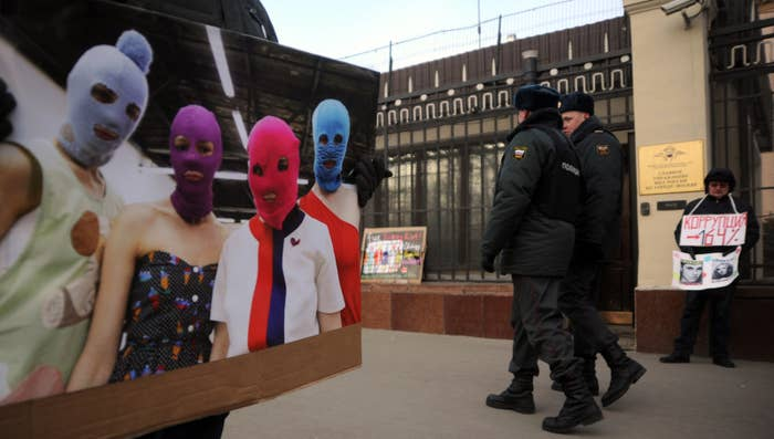 In the years since they were jailed for playing an anti-Putin song in a Moscow church, Pussy Riot — or at least one member, Nadya Tolokonnikova — have transformed from an anonymous protest collective to a real band, among other ventures. Part of that transition involved ditching of the masks that gave them anonymity and splitting to set up separate projects under the Pussy Riot ~brand~. And the protests have kept coming, even as the music's appeal has broadened Two years ago, Tolokonnikova and Masha Alekhina released Pussy Riot's first English-language song, which dealt with police brutality and the death of Eric Garner. Just a few weeks ago, Alekhina staged a protest inside Trump Tower.