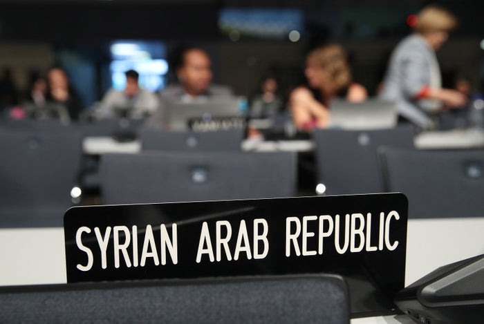 A sign for the Syrian delegation at the Bonn climate conference.