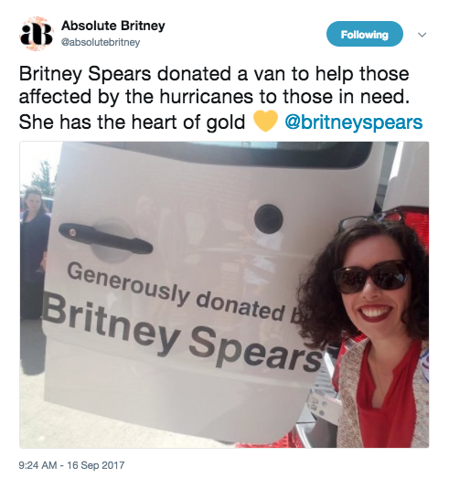 This year, Brit also donated vans to hurricane relief...