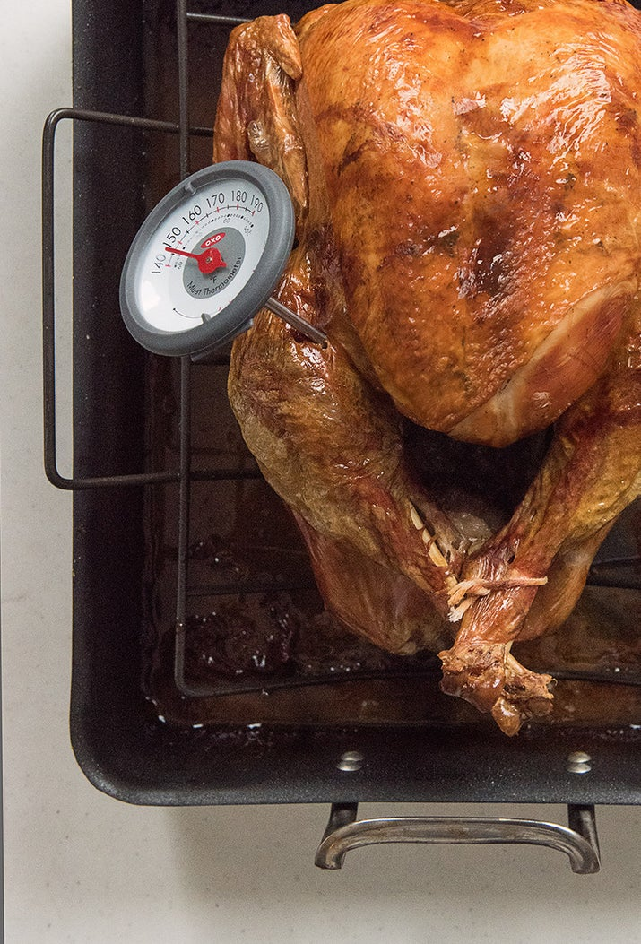 Use a two-tiered pan to cook your turkey!! My grandma's pan (that I use now) has a top layer with holes in it for the turkey, and a bottom part that catches all the delicious drippings, without essentially soaking the turkey in them.—waspxiiiHere's how to dry brine and cook a basic roast turkey.