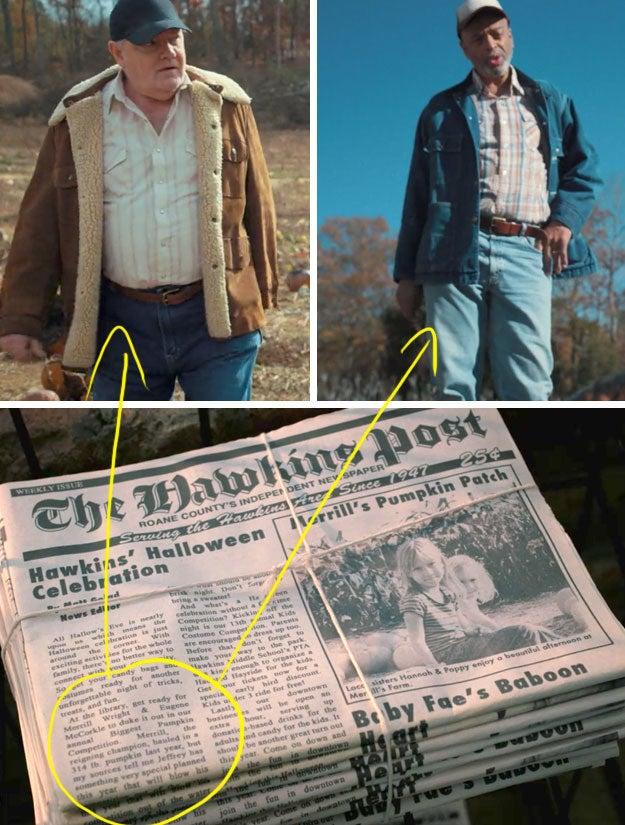 """O jornal """"The Hawkins Post"""" diz: """"Na biblioteca, prepare-se para a briga de Merrill Wright e Eugene McCorkle em nossa competição anual de maior abóbora""""."""