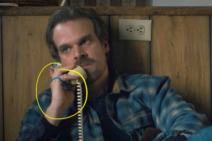 This shot is from Season 1, Episode 5, when Hopper is talking to his ex-wife Diane on the phone.