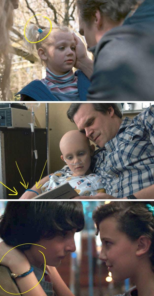 De hecho puede verse a Hopper usando el elástico para el cabello a lo largo de la Temporada 1, pero realmente no sabíamos qué era hasta el final de la temporada. *Llanto eterno*