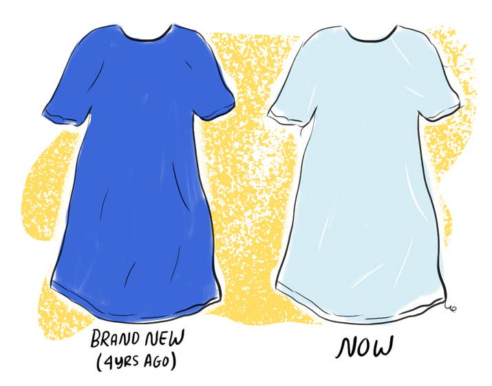 """The concept of a house dress is nothing new, and its appeal will never fade. Any member of a home capsule wardrobe must be loose and forgiving, and no item fits that bill better than the dress — although the house sweatshirt and the house flannel are equally deserving of that status if you don't wear or own dresses. You slip it on whenever you want to feel completely unencumbered, and wearing it makes you feel just a little more fancy than the T-shirt or the sweatpants.The crucial characteristic of a house dress is that it wasn't always worn exclusively at home. Like your mother, it had a life of its own before it became an integral part of yours. At one point, you wore it in public — it was your go-to """"I don't feel like picking out what to wear, so I'll throw this on and call it a day"""" outfit — but now, it's the clothing version of a shut-in. The color may have faded and the style may be just a few years behind what's currently on the racks at Zara, but at home, """"time"""" and """"trends"""" are just words. The house dress is its own fashion moment, impervious to critique, and, as you've learned, stains! A good house dress just absorbs it all and embraces its new place in your life."""