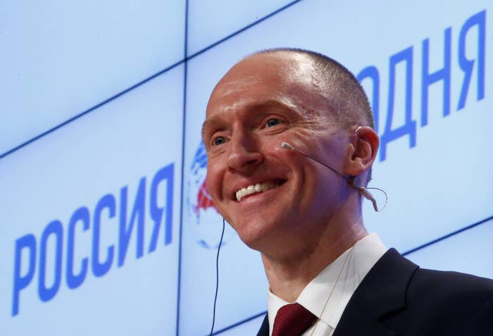 Carter Page makes a presentation in Moscow, Russia, in December 2016.