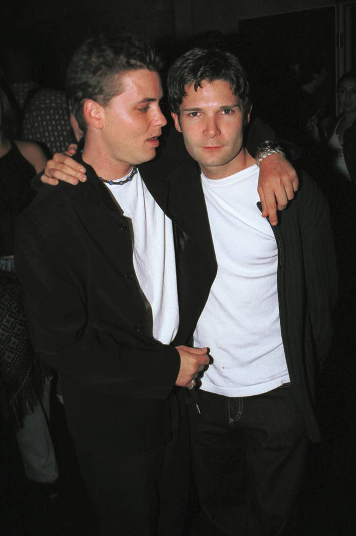 Actors Corey Haim and Corey Feldman in 2001 in Hollywood.
