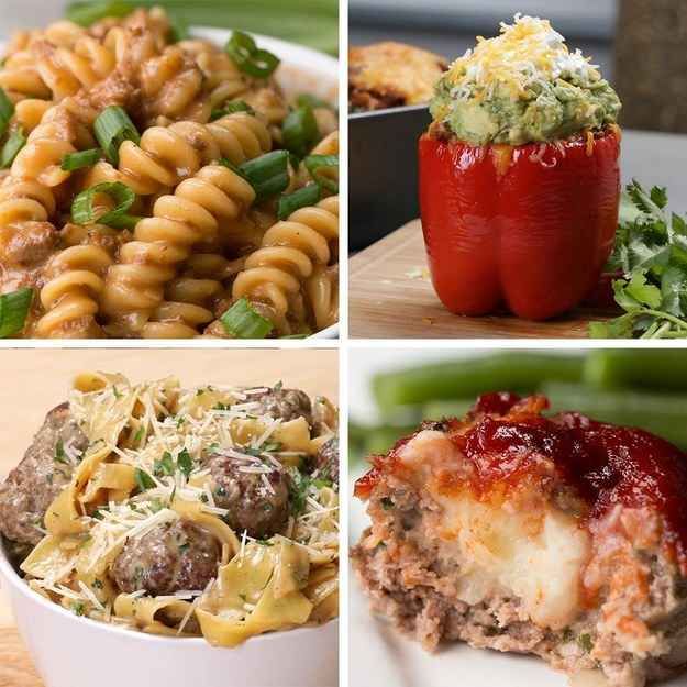 One-pot Swedish Meatball Pasta4 servingsINGREDIENTS455 g (1 lb) ground beef55 g (½ cup) seasoned bread crumbs½  onion, finely minced1  egg½ tablespoon salt, for meatballs½ tablespoon pepper, for meatballs2 tablespoons canola oil470 mL (2 cups) beef broth470 mL (2 cups) milk½ tablespoon salt, for sauce½ tablespoon pepper, for souce1 tablespoon worcestershire sauce400 g (4 cups) egg noodle100 g (1 cup) shredded parmesan cheese15 g (½ cup) fresh parsley, choppedPREPARATION1. In a large bowl, combine the ground beef, breadcrumbs, onion, egg, salt, and pepper, mixing until evenly combined.2. Heat the canola oil in a pot over medium-high heat. Take about a golf-ball size of the meatball mixture and roll it into balls. Place the meatballs into the pot, cooking for one minute. Flip the meatballs.3. Add the beef broth, milk, salt, pepper, and Worcestershire sauce and give it a stir.4. Bring the liquid to a boil, then add the egg noodles. Stir constantly until the pasta is cooked and the liquid has reduced to a sauce that coats the noodles, about seven to eight minutes.5. Add the parmesan and the parsley, stirring until the cheese is melted.6. Enjoy!---Taco-stuffed Peppers6 peppersINGREDIENTS6  large bell pepper, or 8 medium, ensure they have a flat base so they will stand up when cooking455 g (1 lb) ground beef1  medium yellow onion, diced1 can black bean, drained225 g (1 cup) brown rice, cooked165 g (1 cup) frozen corn1 jar chunky salsa, medium2 tablespoons taco seasoning mix, 1 packet, or make your own150 g (1 ½ cups) grated cheddar cheese, or mexican blend cheese guacamole, to garnish, optional sour cream, to garnish, optionalMake Your Own Taco Season1 tablespoon chili powder1 ½ teaspoons ground cumin1 teaspoon salt1 teaspoon black pepper1 teaspoon corn starch½ teaspoon paprika½ teaspoon garlic powder½ teaspoon onion powder¼ teaspoon cayenne pepper¼ teaspoon dried oreganoPREPARATION1. Cut off the top and remove the seeds from each pepper.2. Place in a baking dish and bake