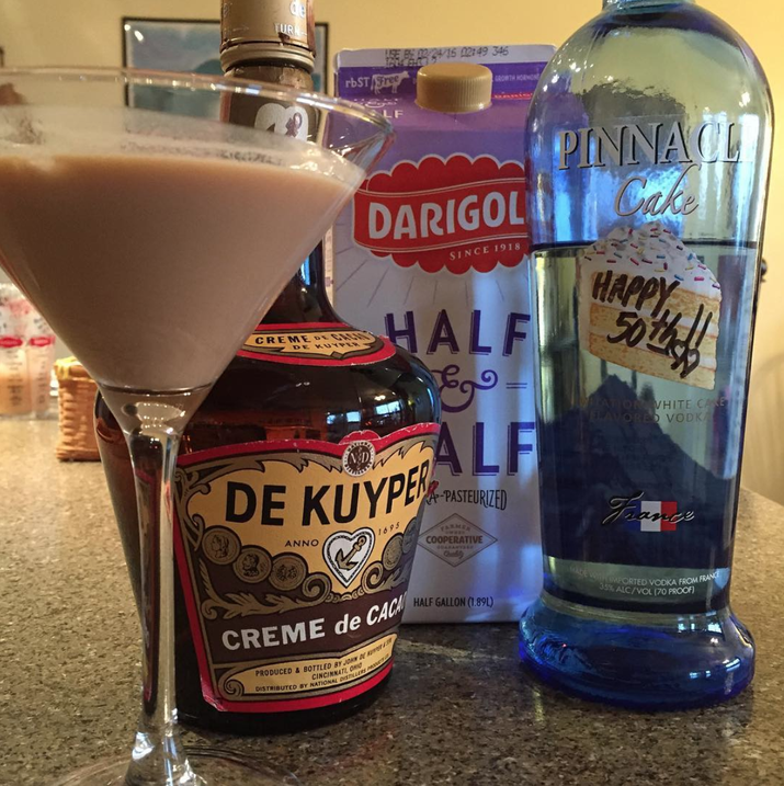 Half cake vodka + half chocolate milk + shot glass = chocolate cake shot.—meganw19