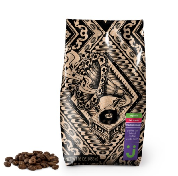 Uniquely J Coffee Bar Blend, Whole Bean, Medium Roast, 16 oz. - $9.99