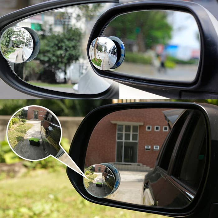 """Promising review: """"I looked at most of the blind spot mirrors on Amazon and settled on this one. I really like that the mirror is low profile and doesn't have a border around it. It is good quality with no flaws. Once installed it looks like it was meant to be there and doesn't stick out like a sore thumb. It is also tiltable in all directions which was absolutely a requirement. If it is not adjustable, then most of your view will be of the side of your car."""" — AndrewGet it from Amazon for $6.97."""