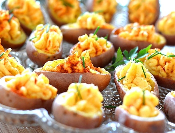 """Small baby potatoes serve as the """"egg"""" in this crowd-pleaser. Get the recipe here."""
