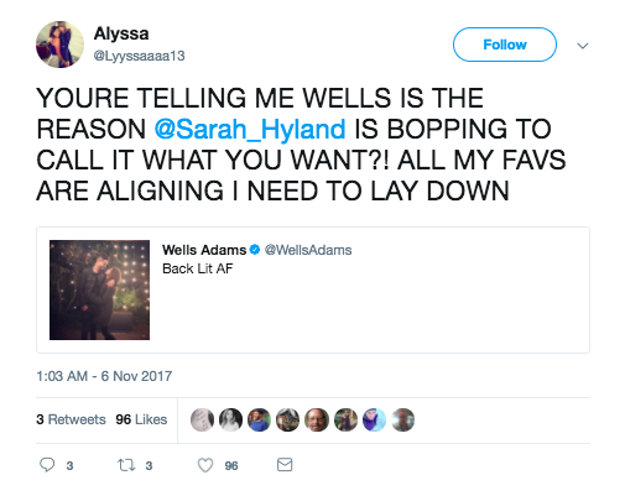 And then we all found out that it was Wells making Sarah so happy, and Sarah liked THIS TWEET: