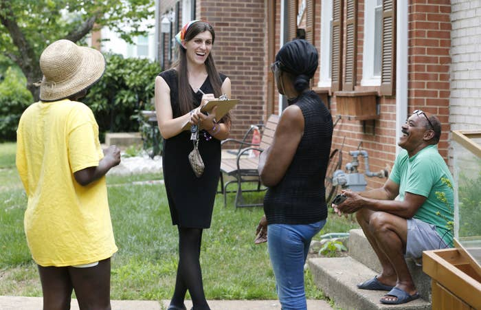 Danica Roem canvasses voters on June 21.