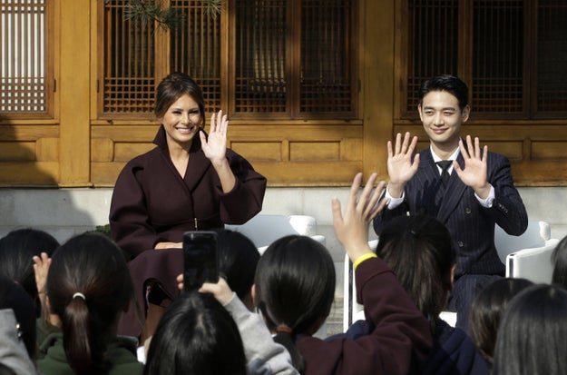 While Trump was in a summit with South Korean President Moon Jae-in, first lady Melania attended an event in Seoul with Choi Min-ho, a member of the K-pop band SHINee.