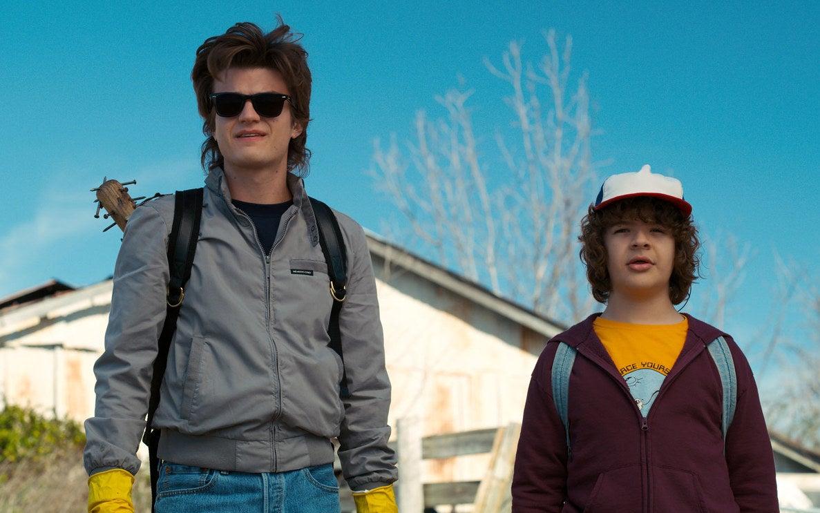 Steve (Joe Keery) and Dustin (Gaten Matarazzo) go demo-dog hunting in Stranger Things 2.