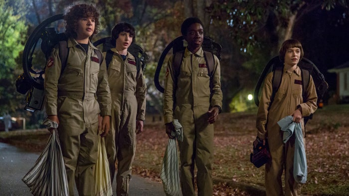 Dustin, Mike, Lucas, and Will go trick-or-treating.