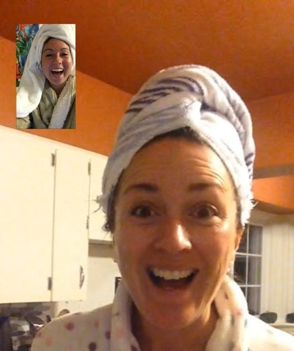 Here's Amelia FaceTiming her mom one night during her first year at college.