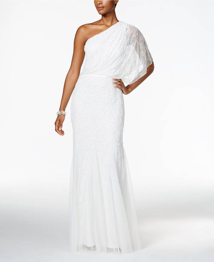 A One Shoulder Gown Covered In Delicate Beadwork Thats Even More Stunning Person