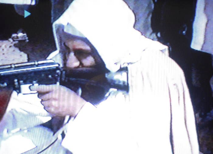 Osama bin Laden firing an AK-47 in a 2001 video.