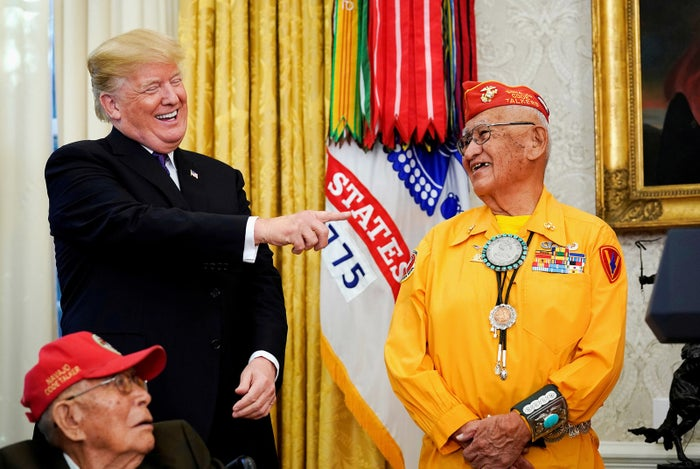 President Donald Trump honors Navajo code talkers for their contributions during World War II, at the White House on Nov. 27.