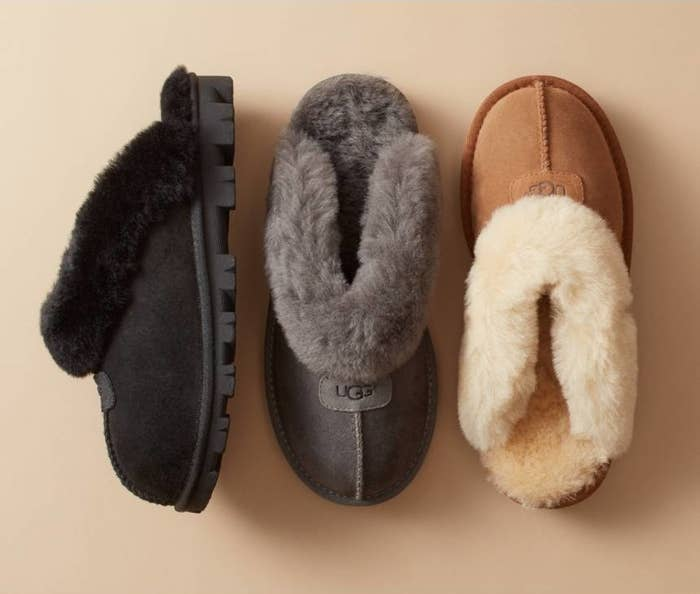 26e25a0871e A pair of classic-for-a-reason shearling Ugg slippers with hard soles  because you will NOT want to take them off when you have to go outsie to  take out the ...