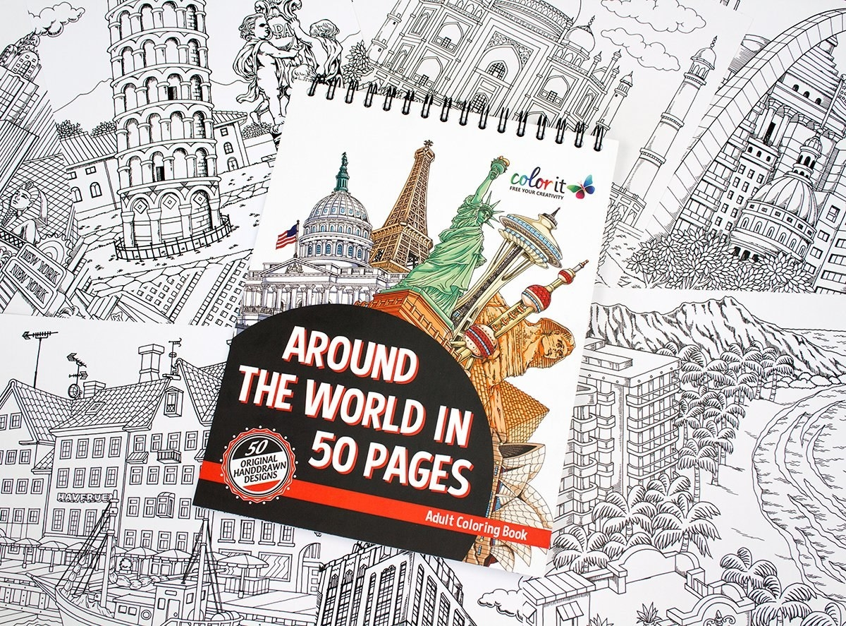A Coloring Book For Bringing World Famous Landmarks To Life With Pencils And Markers