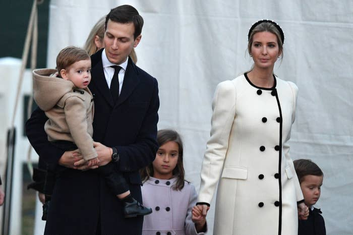 Jared Kushner and Ivanka Trump walk with their children at the lighting of the National Christmas Tree on Thursday.