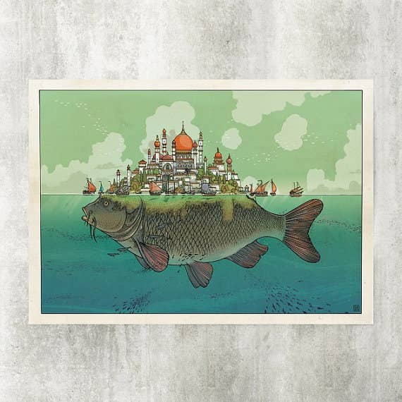 Designed by Swiss artist Jared Muralt, this print will fuel your wanderlust and fill your room with hyper-detailed color. Get it from The Blackyard Shop on Etsy for $25.