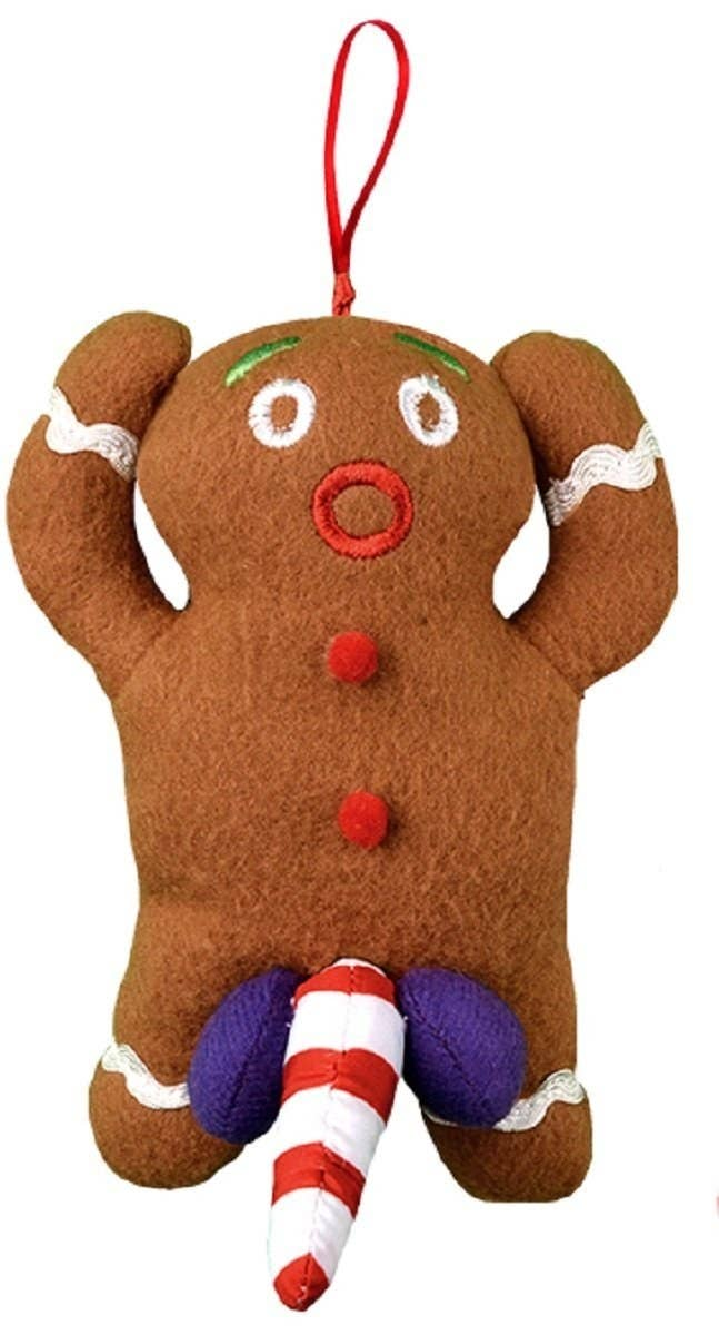 A gingerbread man ornament that always has something naughty to say.
