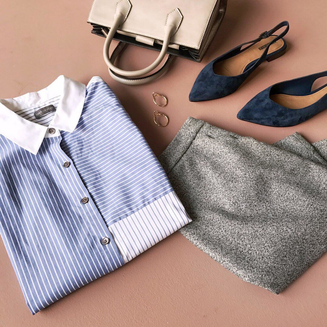 A button-up shirt, pants, slingback pumps, a pair of earrings, and a purse