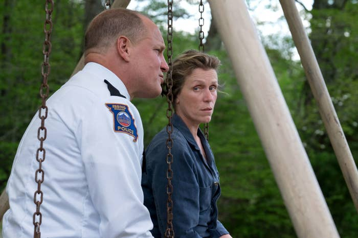 Sheriff Bill Willoughby (Woody Harrelson) meets with Mildred (McDormand)